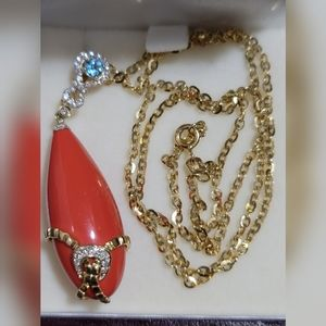 18K Coral Gemstone with 14K necklace